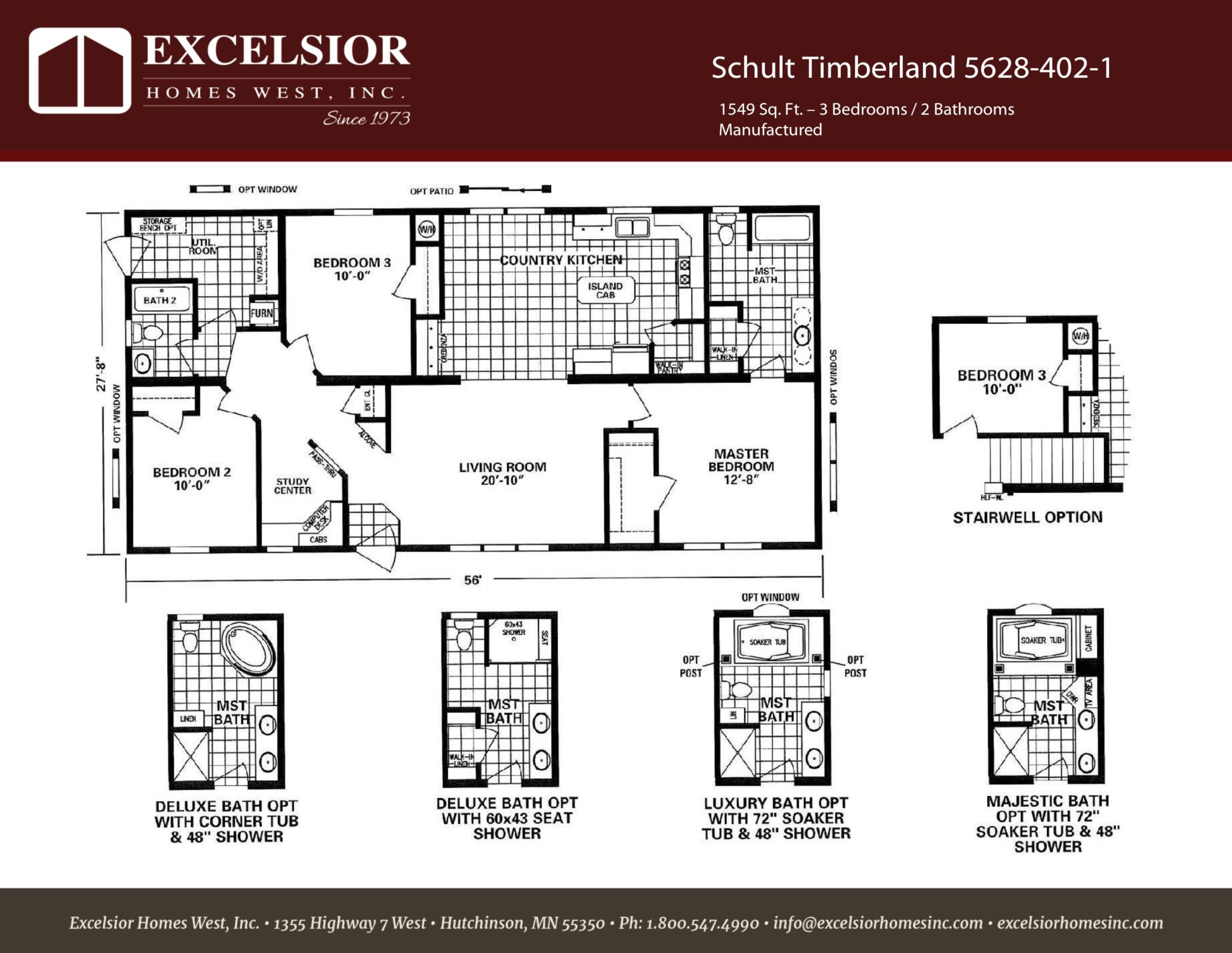 Schult timberland 5628 402 1 excelsior homes west inc for Timberline homes floor plans