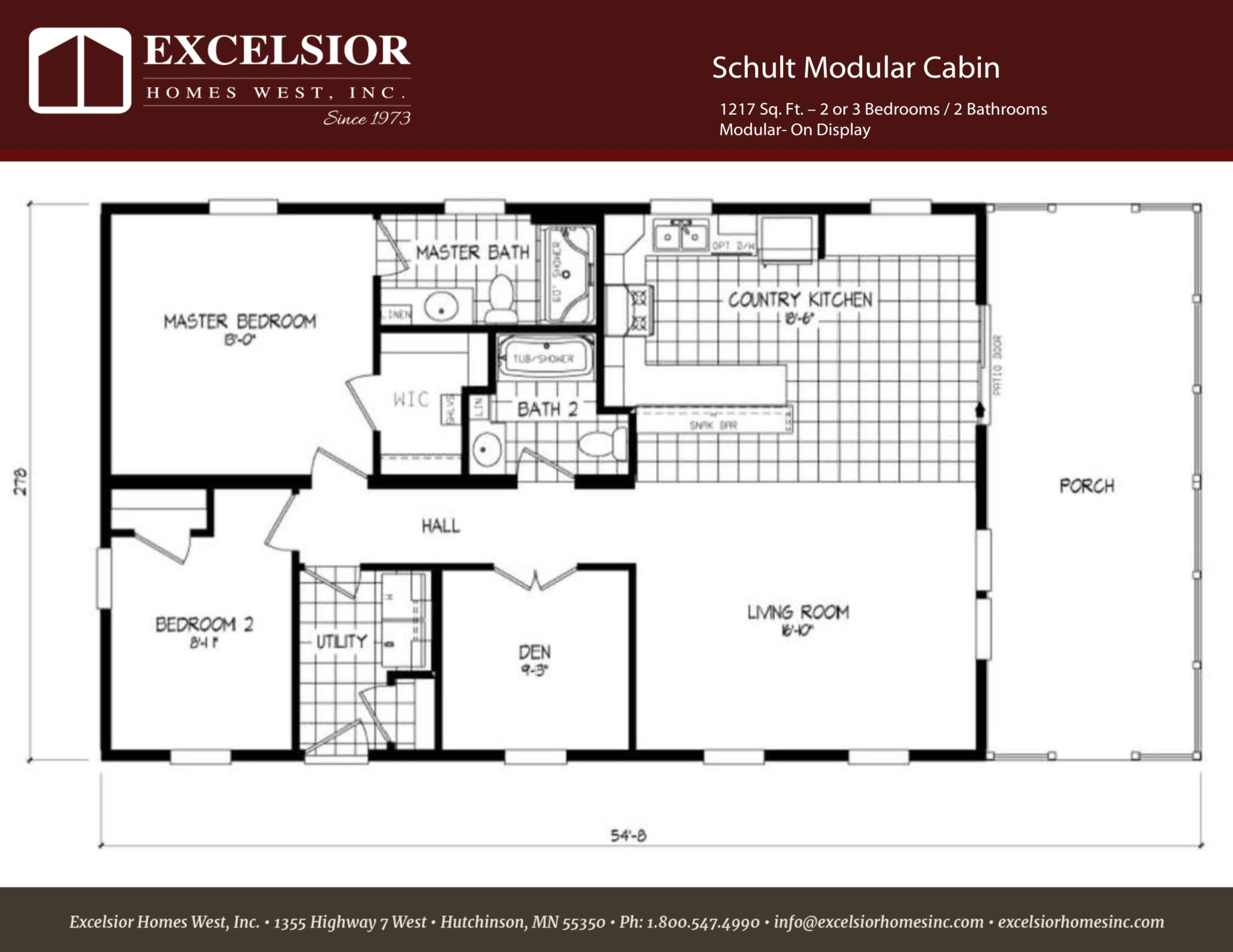 Schult modular cabin excelsior homes west inc for Mobile home plans